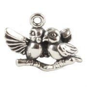 Lovebirds 3D Sterling Silver Charm